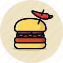 cheeseburger, fast food, hamburger, junk food, spicy icon