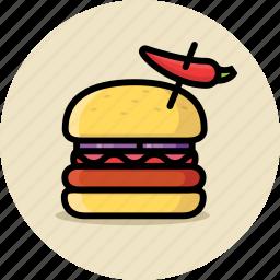 cheeseburger, fast food, hamburger, junk food, spicy icon