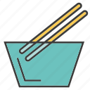 bowl, chopsticks, eat, food, meal, noodle icon