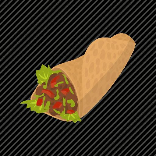 food, kebab, meal, pita, roll, salad, shawarma icon