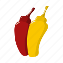 bottle, condiment, food, ketchup, mustard, plastic, taste