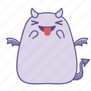 boo, happy, out, smile, sticker, succubus, tongue icon