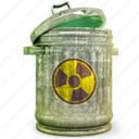bin, can, delete, fallout, garbage, radiation, recycle, remove, retro, trash icon