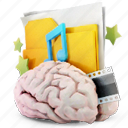 brain, document, documents, folder, maninblack, music icon