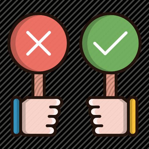accept, debate, feedback, refuse icon