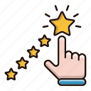 contact us, feedback, rating, stars icon