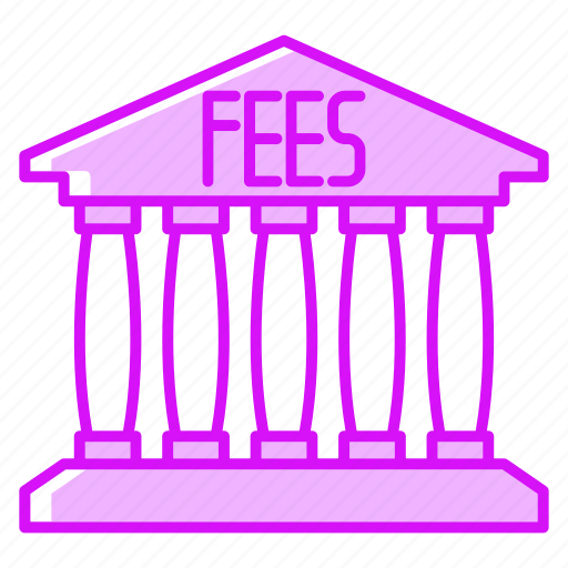 bank, building, cash, fees, finance, payment icon