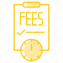 deadline, fees, paper, payment, report icon