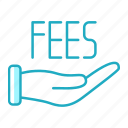 cash, fees, finance, hand, payment icon