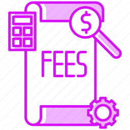 fees, financial, gear, paper, payment, report icon