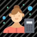 accountant, analyst, analyzer, business, data, female, scientist icon