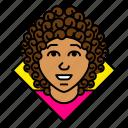 account, avatar, boss, business, curly, entrepreneur, woman
