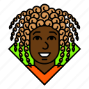 afro, avatar, business, curly, manager, profile, woman