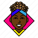 account, afro, avatar, curly, profile, student, woman