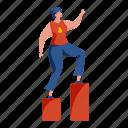 character, builder, woman, climb, steps, achievement, target
