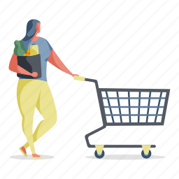e, commerce, shopping, woman, groceries, cart, purchase, shop