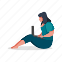 leisure, character, builder, woman, device, laptop, computer