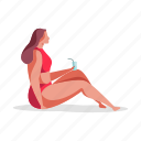 leisure, character, builder, woman, drink, beverage, glass, beach
