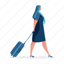 occupation, character, builder, woman, stewardess, luggage, baggage, travel
