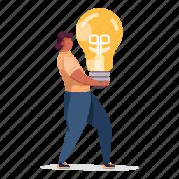 product, development, character, builder, woman, thought, lightbulb, light, innovation