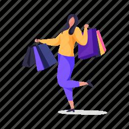 shopping, character, builder, woman, female, shop, bag