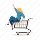shopping, e, commerce, woman, shop, cart, ecommerce