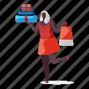 shopping, e, commerce, character, builder, woman, shop, presents, bag, box