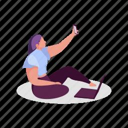 social, media, woman, selfie, electronic, device