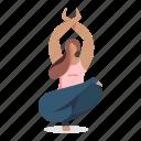 sports, character, builder, meditation, woman, yoga, pose