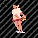sports, character, builder, woman, basketball, ball, sport