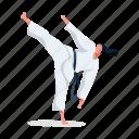 sports, character, builder, woman, karate, martial, art, sport