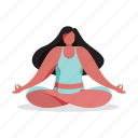 sports, character, builder, woman, meditate, meditation