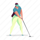 sports, character, builder, woman, sport, golf, game