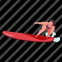 sports, character, builder, woman, surf, surfing, surfboard, sport