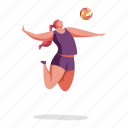 sports, character, builder, woman, volleyball, ball, sport, game