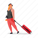 travel, character, builder, woman, luggage, baggage, suitcase, 1