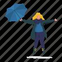 weather, character, builder, woman, umbrella, scarf, jacket