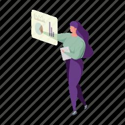web, development, character, builder, woman, graph, analytics, statistics