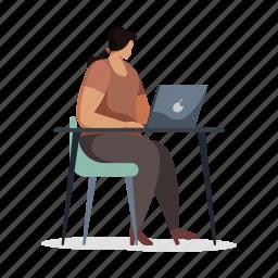 workspace, woman, desk, computer, laptop, chair