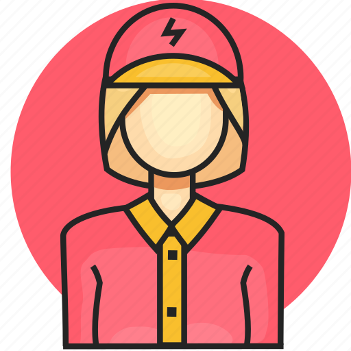 avatar, electrician, job, profession, woman icon
