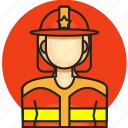 avatar, fireman, job, profession, woman icon