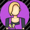 avatar, hair stylist, job, profession, woman icon