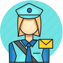 avatar, job, postman, profession, woman