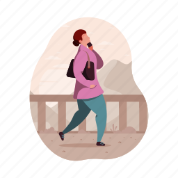 character, builder, woman, bag, phone, female