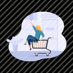 shopping, e, commerce, child, shop, cart, woman, girl