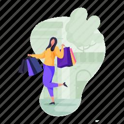 shopping, e, commerce, woman, shop, bags, ecommerce
