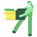 delivery, woman, female, person, box, package, logistic