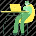 workspace, woman, female, person, desk, computer, laptop