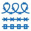 barbed, fence, fencing, prison, wire icon