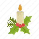 candle, christmas, flame, holidays, icon, light, mistletoe, xmas icon